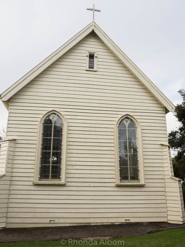 There are several musket holes in the side of Christ Church, New Zealand's Oldest Church located in Russell