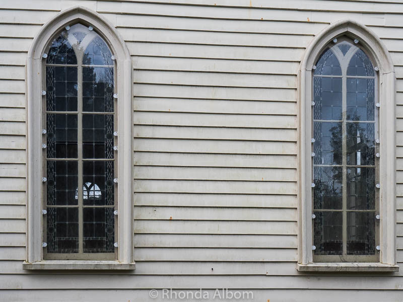 Musket holes in the side of Christ Church, New Zealand's Oldest Church located in Russell