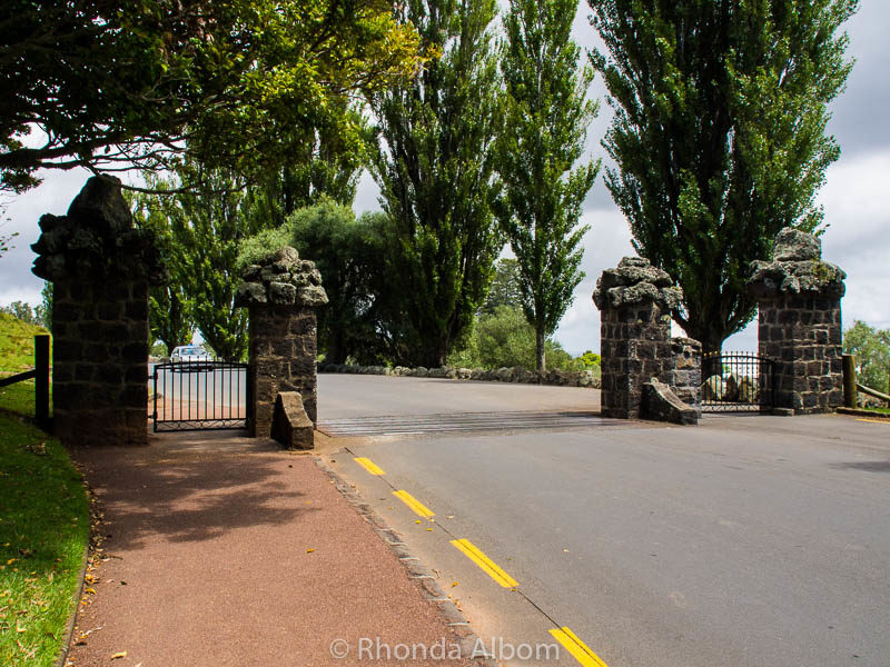"These gates are behind Huia Lodge and separate ""Cornwall Park"" from ""One Tree Hill."" The road leads to the summit. Or, if you cross the gate on foot, there is a walking path just on the other side."