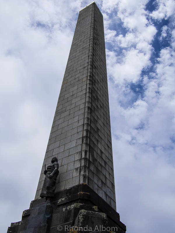 Obelisk at the summit of One Tree Hill in Auckland New Zealand