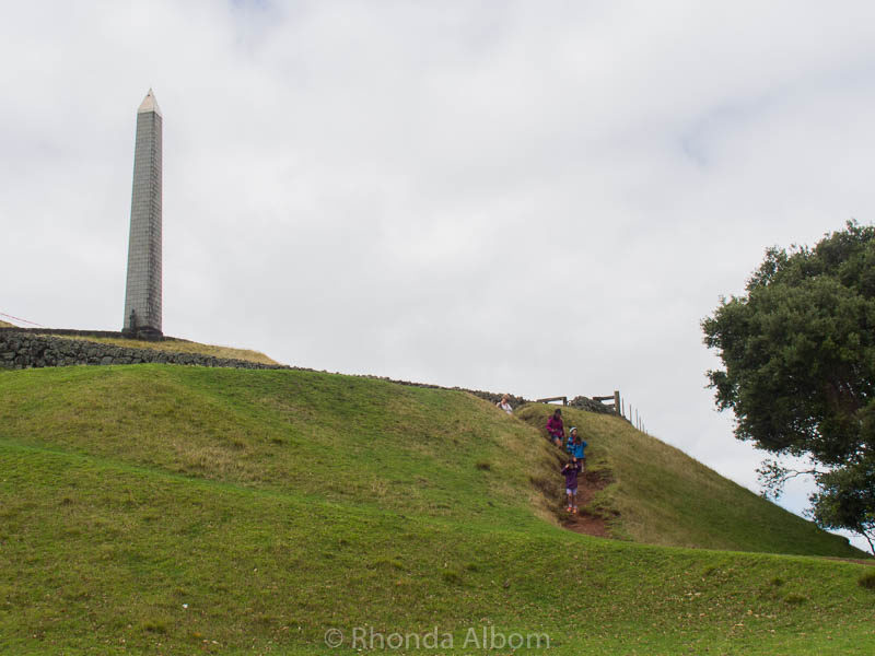 Hiking to the summit of Cornwall Park in Auckland New Zealand