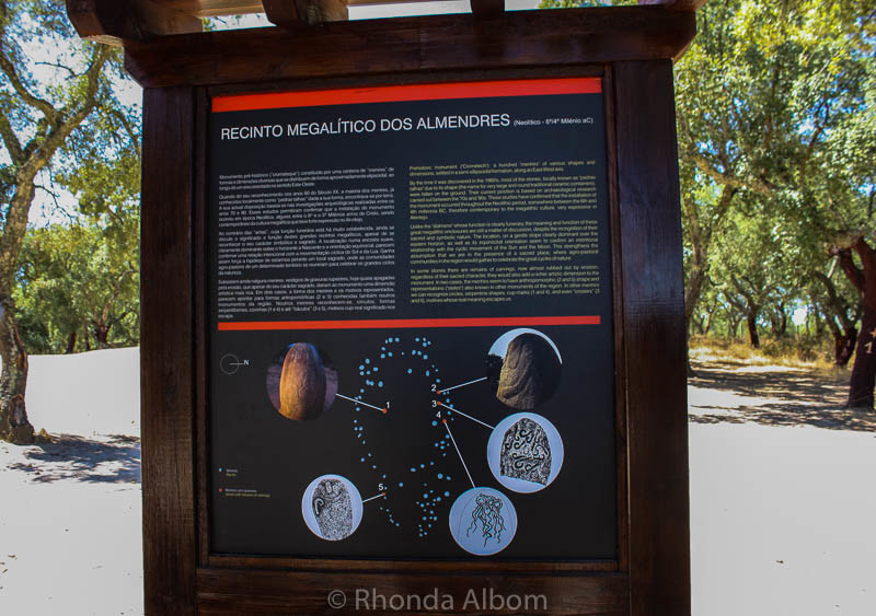 Information sign at Almendres Cromlech is in English and Portuguese in Evora Portugal