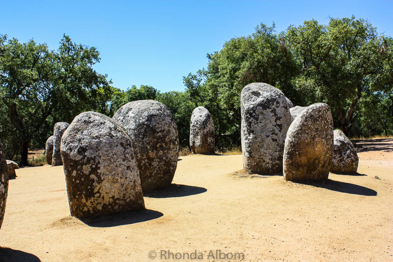 Almendres Cromlech megalithic complex in Evora Portugal