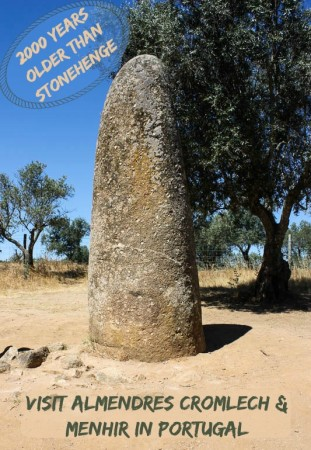 Almendres Cromlech and Almendres Menhir are two megalithic sites in Evora Portugal, each more than 2000 years older than Stonehenge.