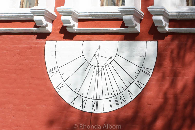 Sundial on the wall of Novodevichy Convent in Moscow Russia