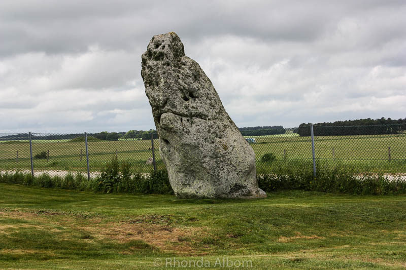 A lone monolith along the fence near Stonehenge in England