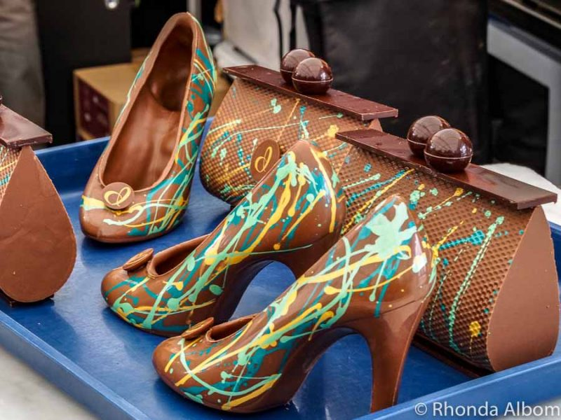 Chocolate shoes at the Chocolate and Coffee show, Auckland New Zealand