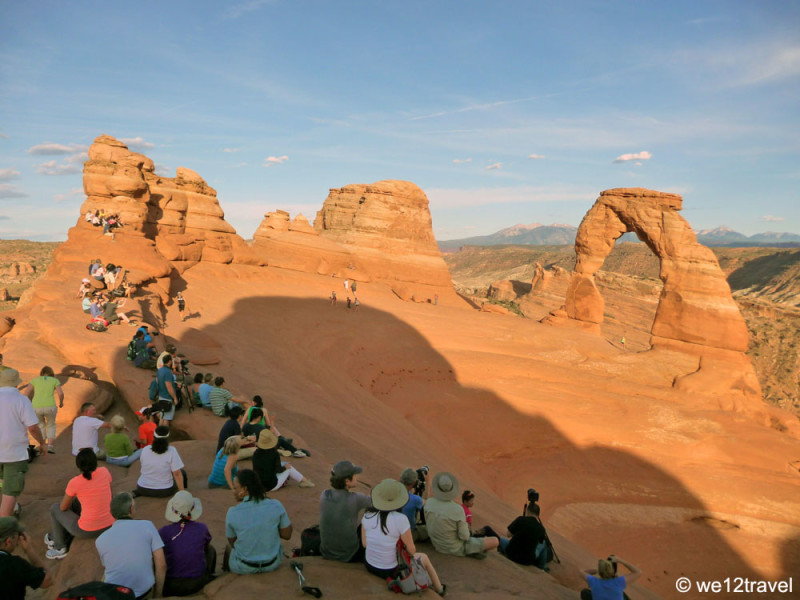 Waiting for sunset at Delicate Arch at Arches National Park in Utah. Photo by Antonette Spaan