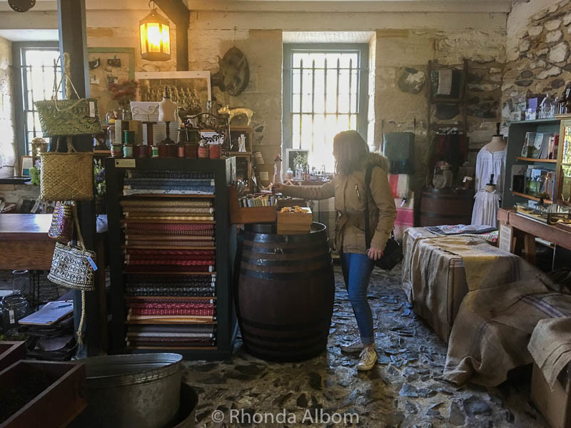 Fabric, knickknacks and other items inside the Stone Store in Kerikeri New Zealand.