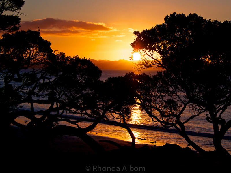Sunset seen from Army Bay beach in Shakespear Park, New Zealand