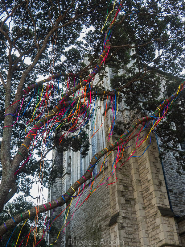 Colourful ribbons and bells are one of the temporary exhibits in Auckland Artweek, New Zealand