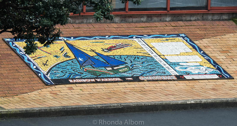 A mosaic memorial at the port where the Rainbow Warrior was sunk in 1985 in Auckland New Zealand