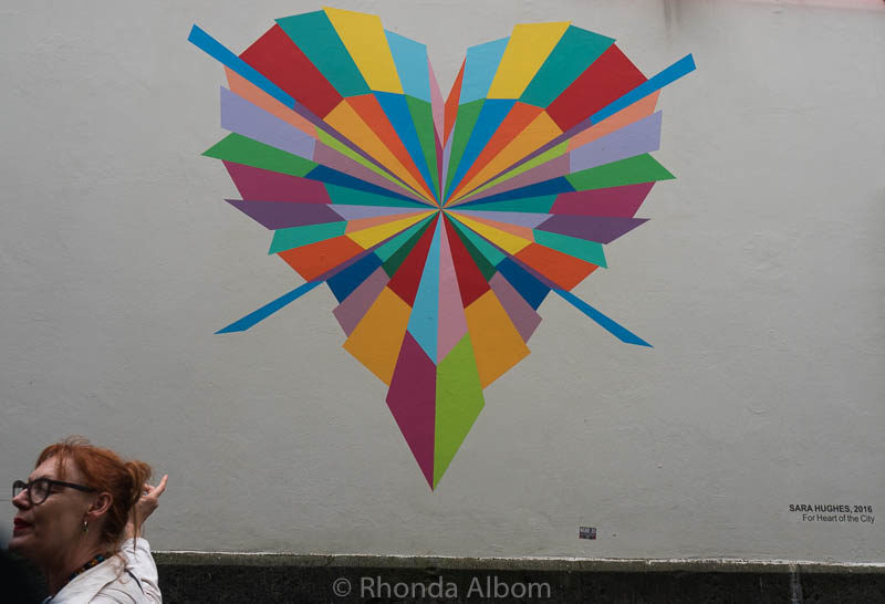 Sun Burst by artists Sara Hughesis one of the Heart of the City hearts in Auckland New Zealand