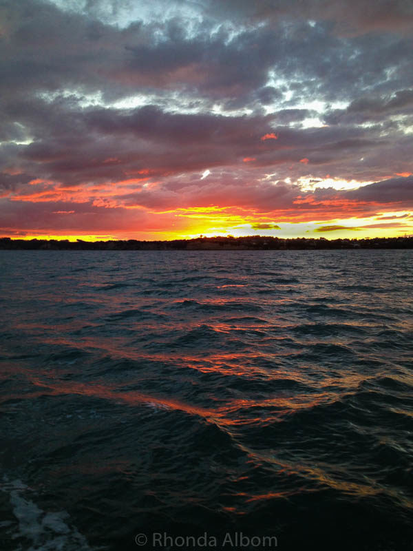 Sunset seen while racing on the Huraki Gulf in New Zealand
