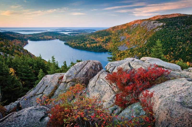 Fall colors in Maine - Autumn Sunrise overlooking Jordon Pond from North Bubble in Acadia National Park, Bar Harbor