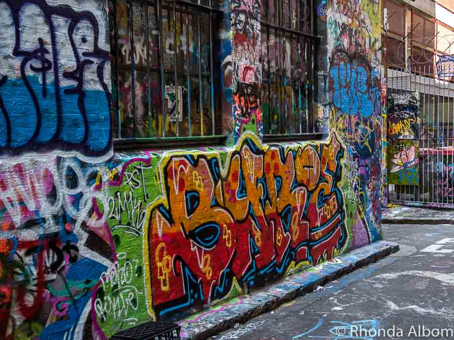 Street art graffiti on Rutledge Lane in Melbourne Australia