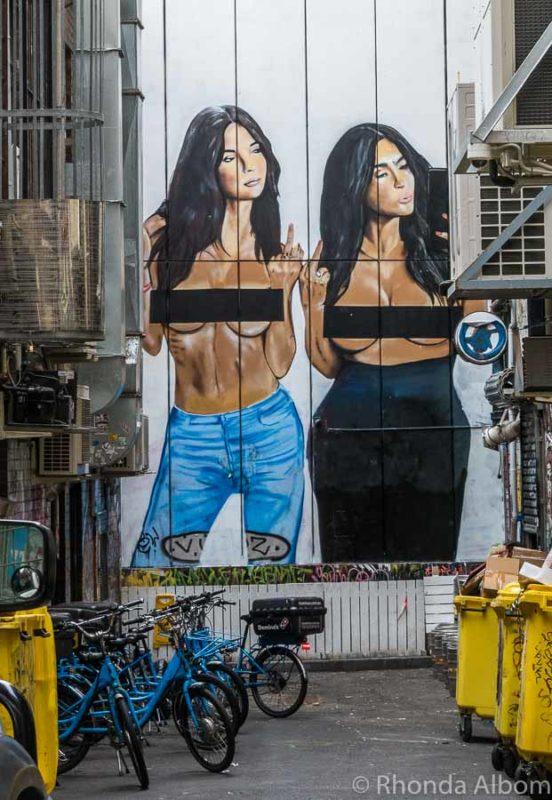 Kardashian selfie street art in Melbourne Australia