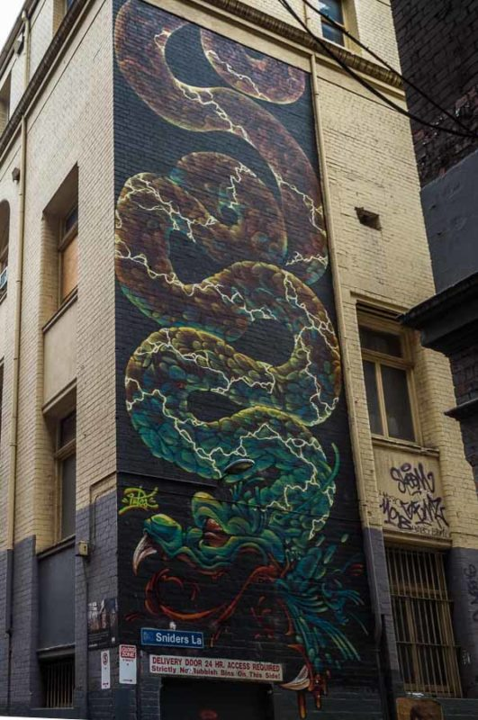 Street Art on Sniders Lane off of Drewery Lane in Melbourne Australia
