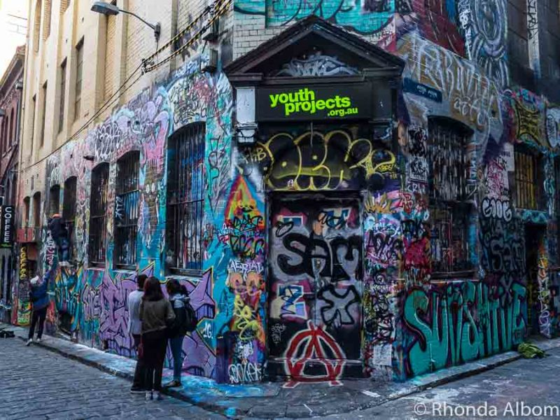 Famous Melbourne street art corner of Hosier Lane and Rutledge in Melbourne Australia