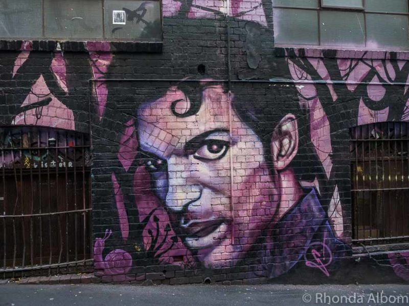 A tribute to Prince in Street Art on AC/DC Lane in Melbourne Australia