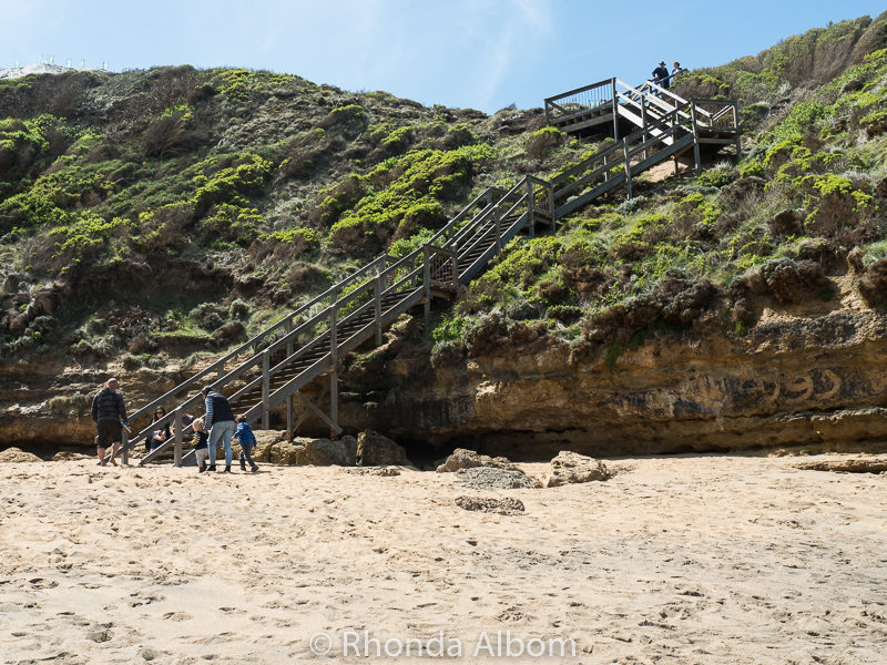 Over 100 steps leading down to Bells Beach.