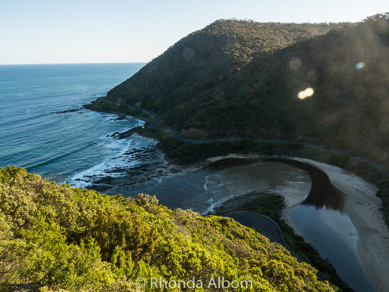 St. George River outlet seen from Teddys Lookout in Lorne, Australia
