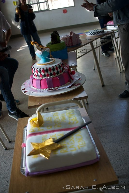 Line of cakes waiting to be judged at the school spring party in Santa Fe, Argentina. Photo copyright ©Sarah 2016