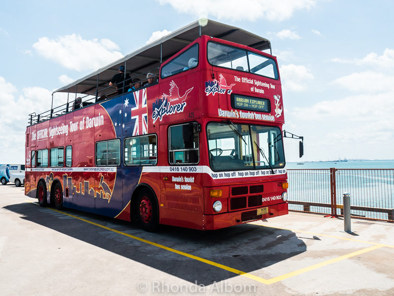 Explorer bus on Stokes Hill Wharf in Darwin Australia