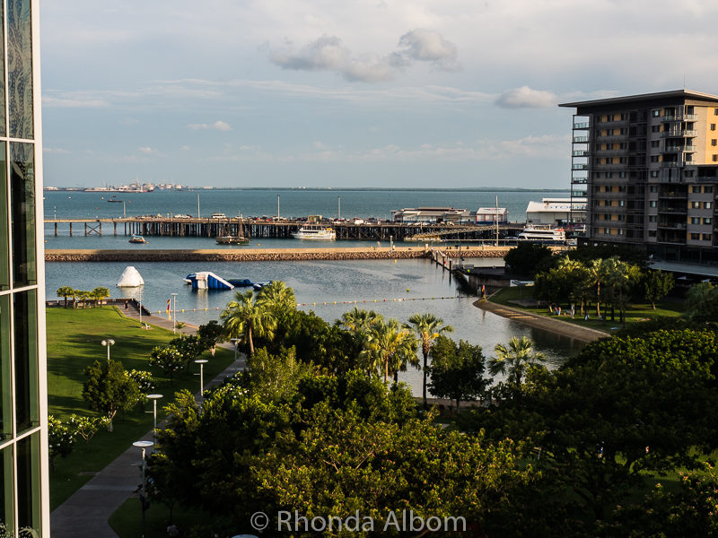 View from pedestrian bridge to Darwin Waterfront.