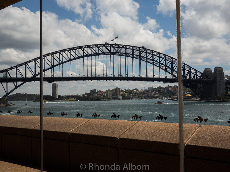 Harbour Bridge as seen through foyer used for intervals and party hire: Sydney Opera House Tour