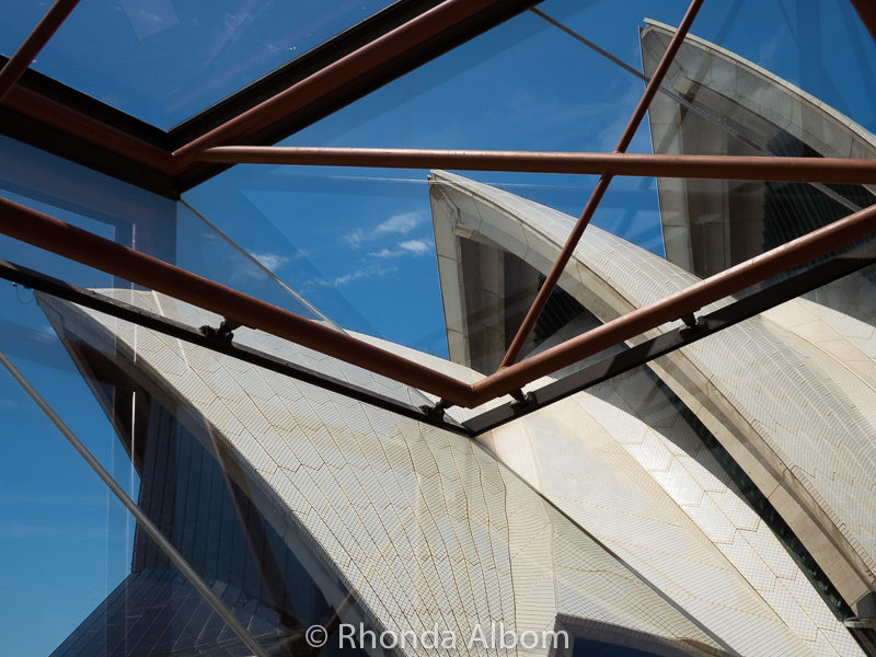 Angled glass and metal framing Sydney Opera House Tour: