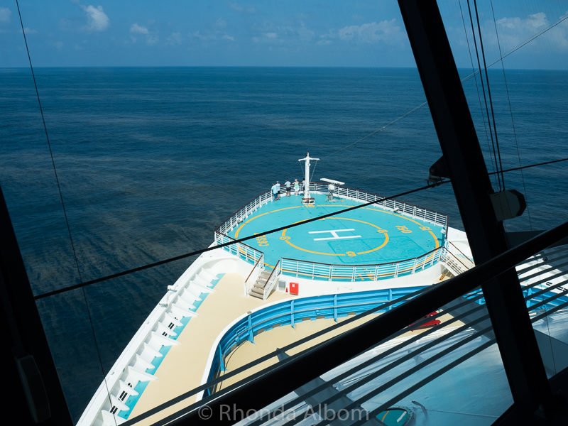 Looking down at the helipad from the bridge of the Radiance of the Seas