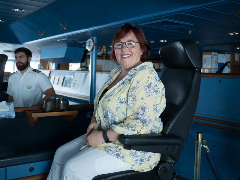 In the captain's chair on Royal Caribbean's Radiance of the Seas