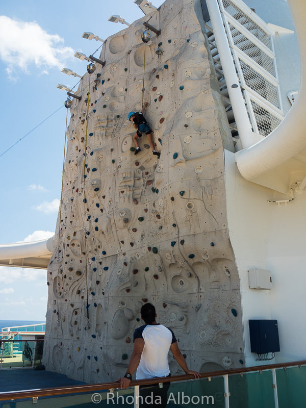 Rock climbing wall on the Radiance of the Seas by Royal Caribbean