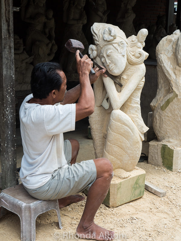Stone carving in the villiage of Batubulan, Bali Indonesia