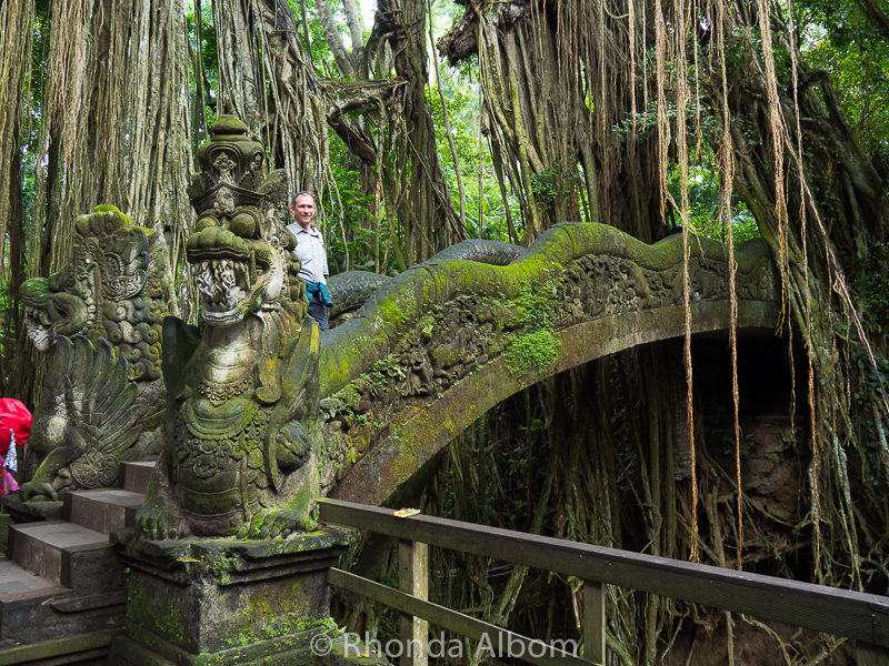 Bridge in the Mandala Suci Wenara Wana Sacred Monkey Forest Sanctuary seen on an excursion in Bali Indonesia