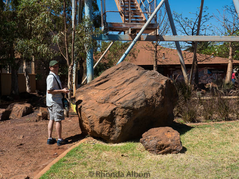 Iron Ore boulder on display in town in Port Hedland, Australia