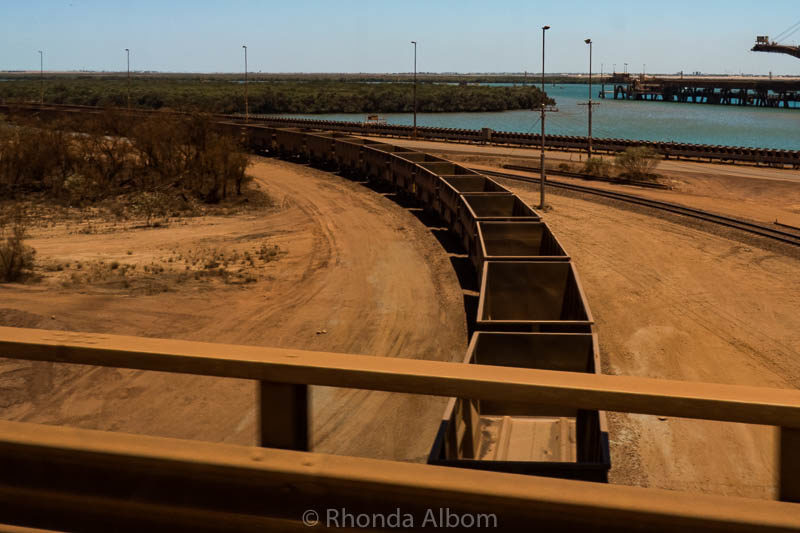 Train cars waiting to be filled at BHP Billiton in Port Hedland, Australia