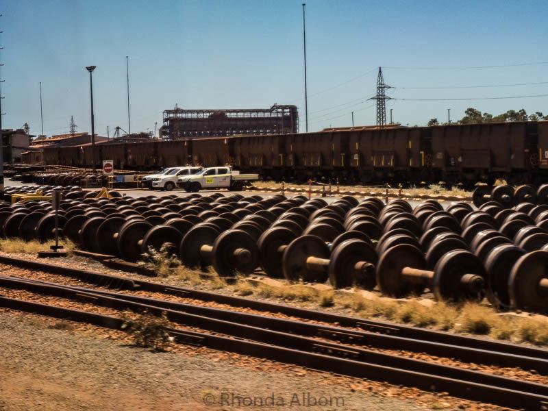 Refurbished train wheels at BHP Billiton Tour in Port Hedland, Australia