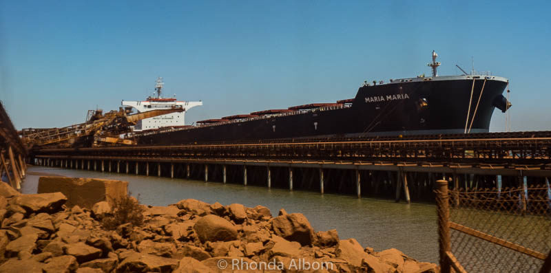 A ship that will carry the iron ore at BHP Billiton in Port Hedland, Australia