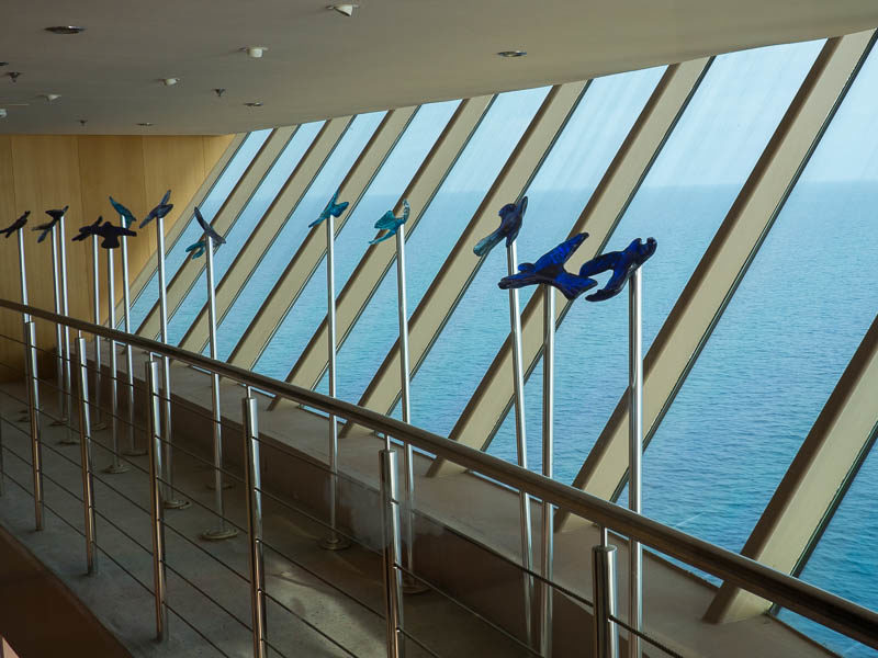 Glass birds seen from the elevator on a Royal Caribbean Ship