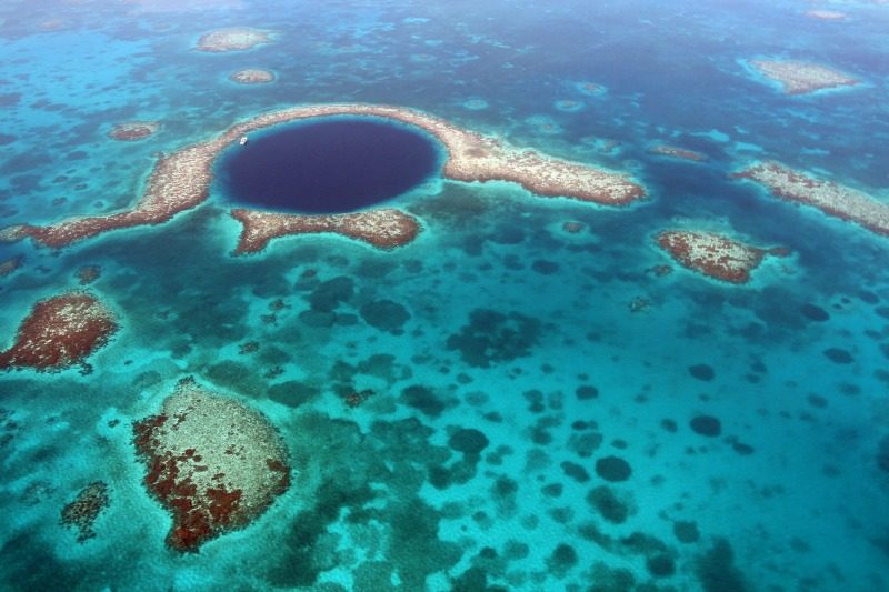 Belize Blue Hole seen from the air.