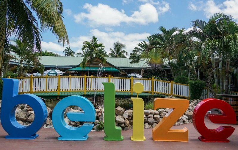 Colourful big letters spell out Belize.
