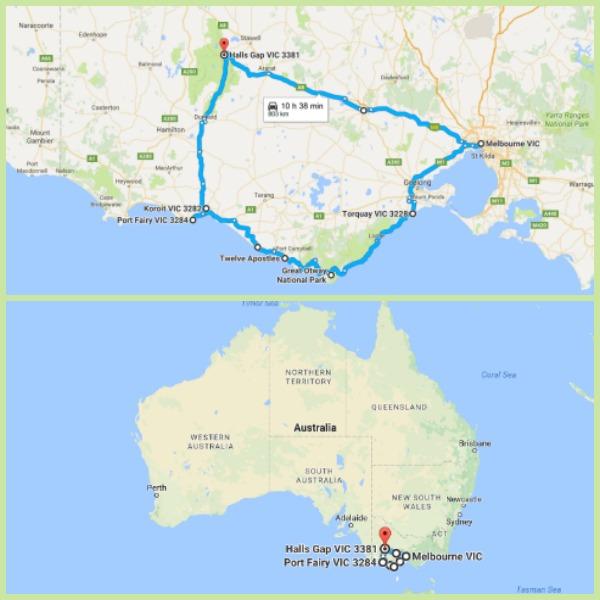 Map of the Great Ocean Road and Grampians loop that we drove