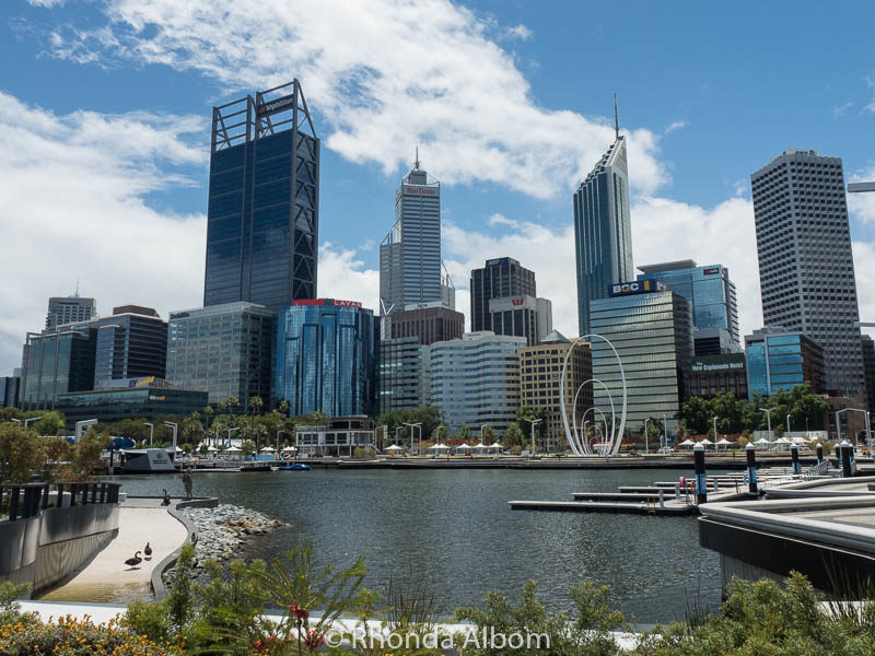Perth skyline from Elizabeth Quay in Western Australia