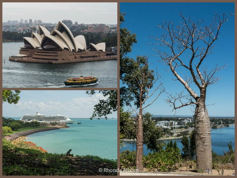 We sailed from Sydney to Perth over the top of Australia on Royal Caribbean. Photos: Sydney Opera House, Perth Botanic Gardens, and our ship in Darwin.