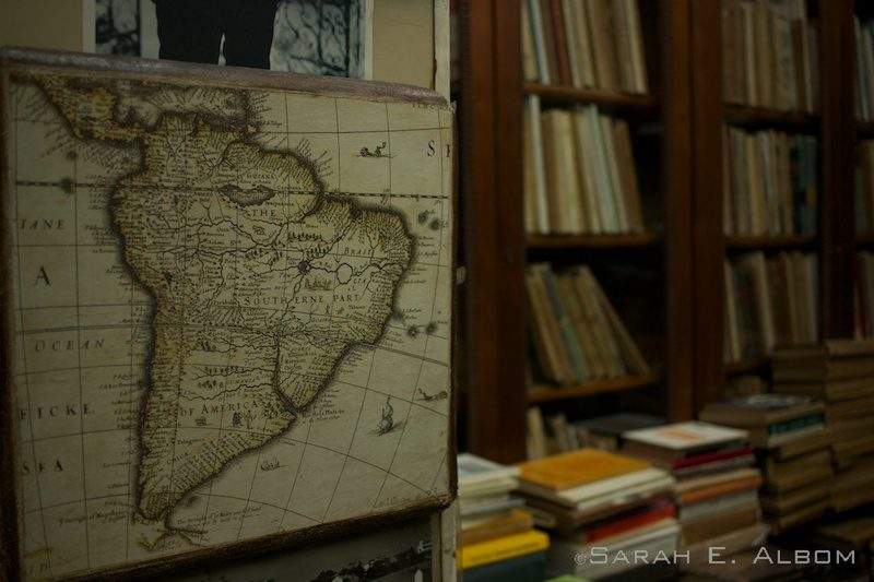 Old map of South America in a second-hand bookstore in Argentina. Photo copyright ©Sarah Albom 2016