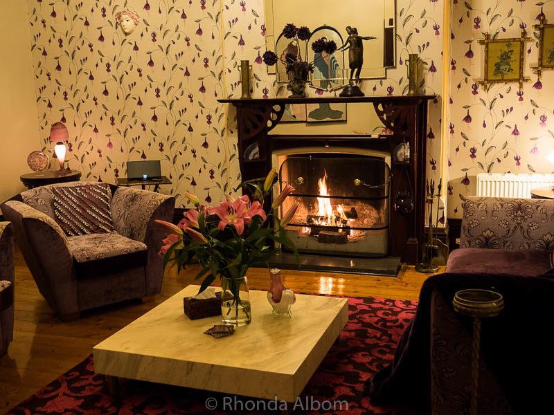 Lilac lounge in St Patrick's Luxury Botique Hotel in Korit, Australia