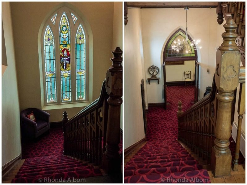 Stairs and stained glassin St Patrick's Luxury Botique Hotel in Korit, Australia