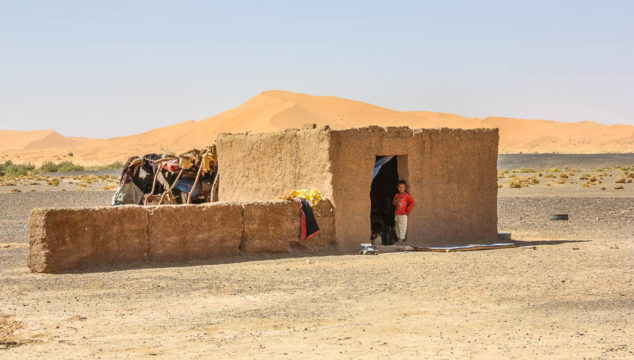 One of the more solid structures at a Bedouin camp in the Sahara desert in Morocco